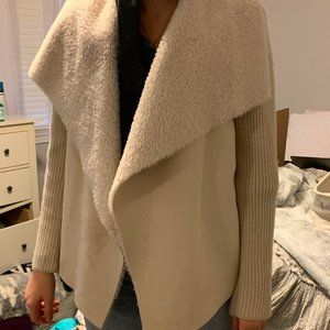 cardigan faux suede and knit